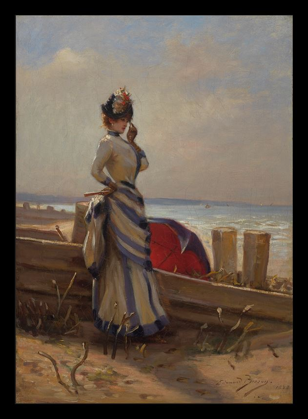Édouard Bisson - An Elegant Woman by the Sea | MasterArt