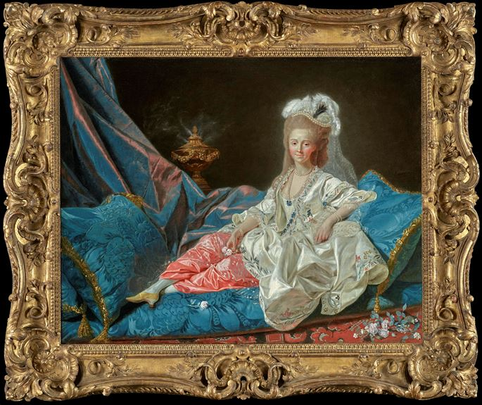 Etienne Aubry - 'La Turque', presumed portrait of Mademoiselle Duthé (1748-1830), mistress of the Comte d'Artois, full-length, reclining on an 'ottomane' | MasterArt