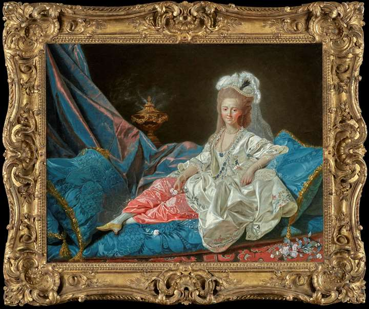 'La Turque', presumed portrait of Mademoiselle Duthé (1748-1830), mistress of the Comte d'Artois, full-length, reclining on an 'ottomane'