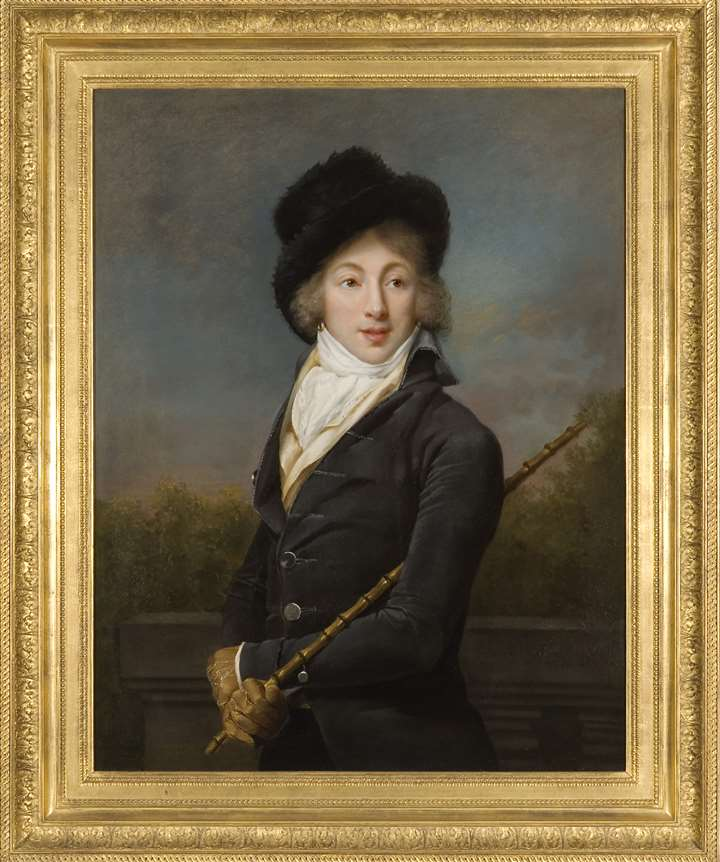 """A Portrait of Auguste Vestris, half length, wearing a Grey Coat and a Fur Hat"""
