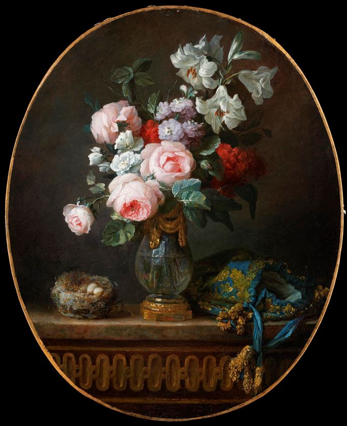 Anne Vallayer-Coster - Still-life with Flowers, Bird's Nest and Pouch  | MasterArt