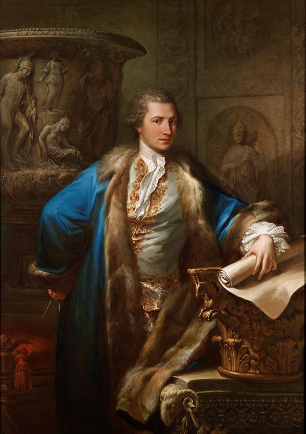 Antonio Zucchi - Portrait of James Adam (1732-1794), in an embroidered waistcoat and  fur-lined blue coat, holding a pair of compasses and a scroll  | MasterArt