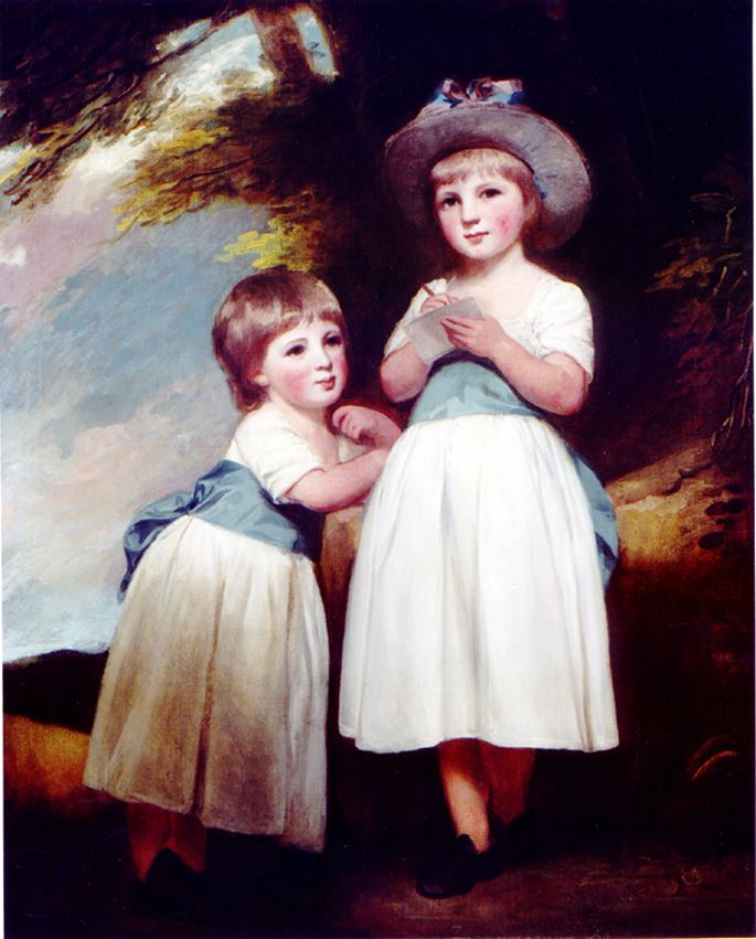 "George Romney - ""Portrait of Two Children in a Landscape"" 