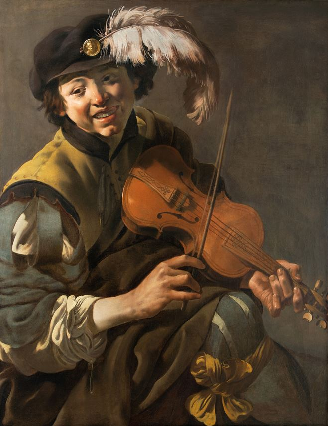 Hendrick  ter Brugghen - A Youth Playing the Violin | MasterArt