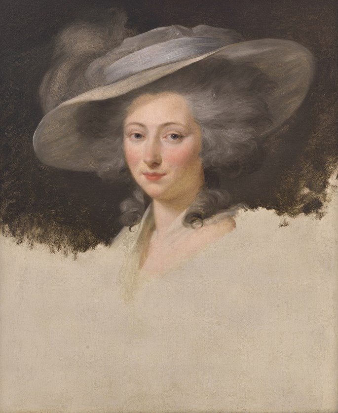 Henri-Pierre Danloux - Portrait of a Lady, head and Shoulders, wearing a Grey Hat  | MasterArt