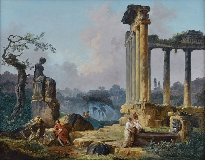 Hubert Robert - A Woman Fishing and Other Figures by Roman Ruins; Women Drawing Water from a Basin while a Man Contemplates a Classical Statue | MasterArt
