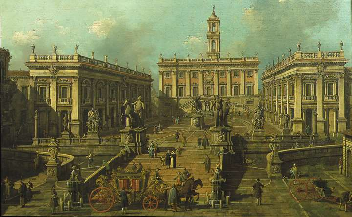 """View of Rome: The Piazza del Campidoglio and the Cordonata"""