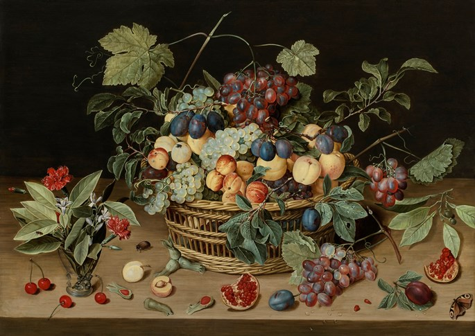 Isaak Soreau - Still Life of a Wicker Basket of Fruit on a Wooden Table | MasterArt