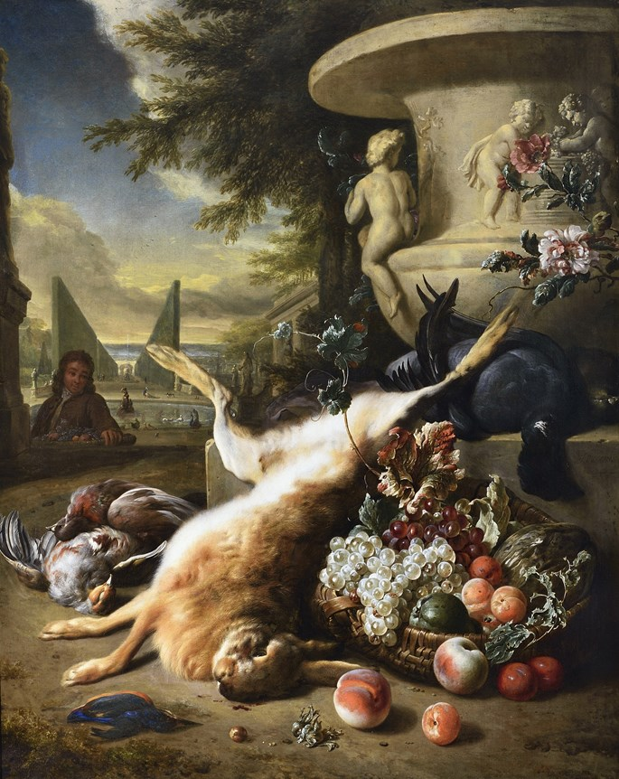 Jan Weenix - A grouse, kingfisher, and other game birds with a hare and a basket of fruit at the foot of a carved stone urn, an Italianate garden with a fountain beyond | MasterArt