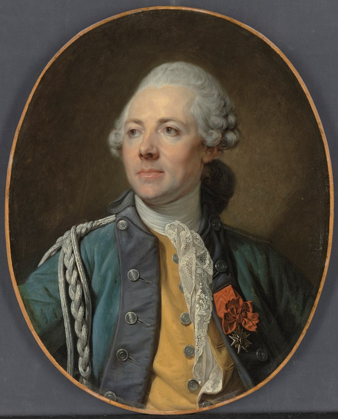 Jean-Baptiste Greuze - Portrait of The Marquis Teyssier des Farges, of Dragoon Regiment No. 12 of the French army, half-length, in uniform, wearing the Order of Saint Louis  | MasterArt
