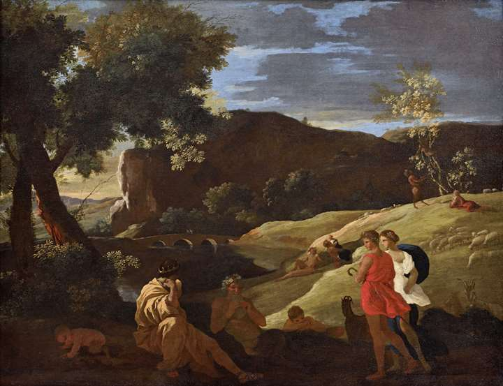 """An Arcadian Landscape with stories from the legends of Pan and Bacchus"""