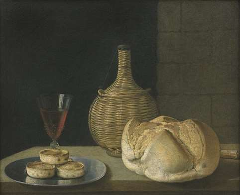 """A flagon of wine, a wine glass, a loaf of bread and knife and pies on a pewter plate."""