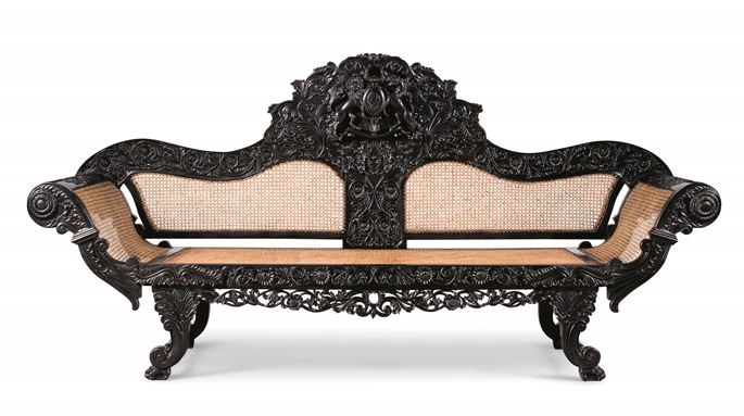 A Fine Caned Ebony Settee with Royal Arms of Scotland | MasterArt
