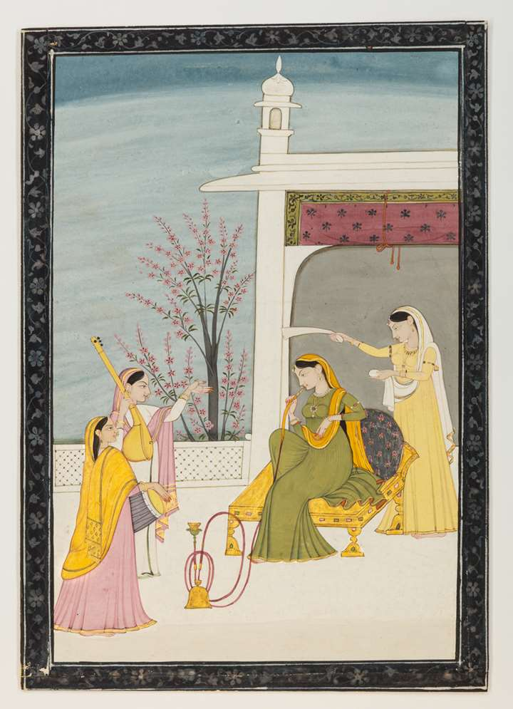 A Nayika on a Terrace with Attendants