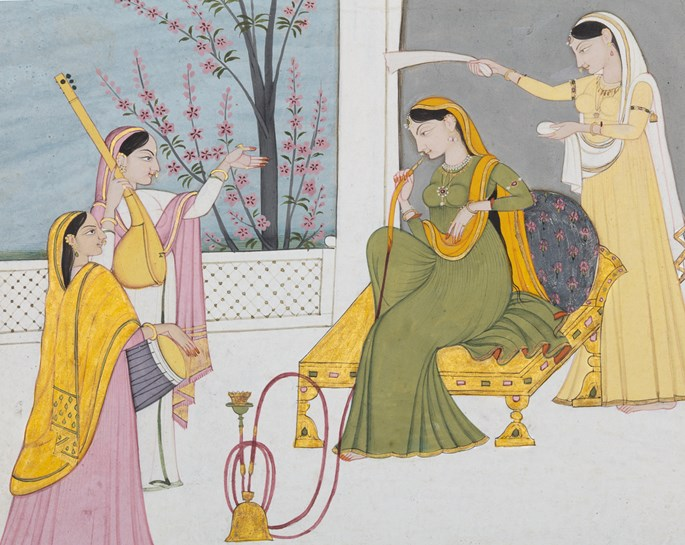 A Nayika on a Terrace with Attendants | MasterArt