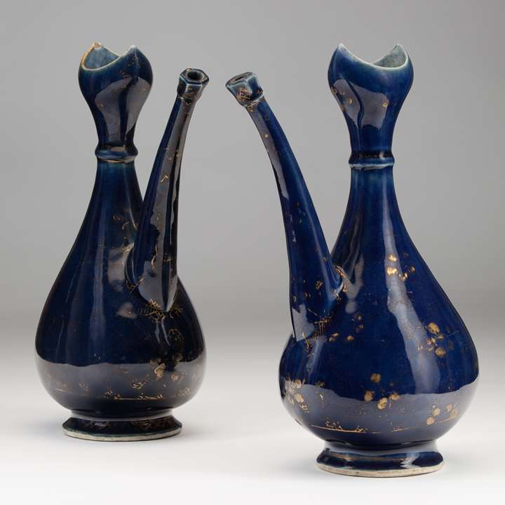 A Pair of Blue Porcelain Ewers Made for the Islamic Market