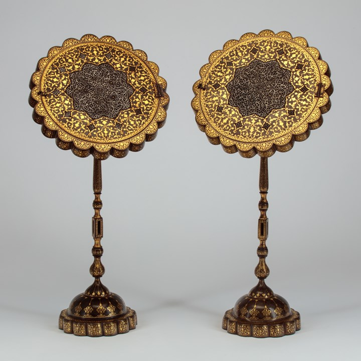 A Pair of Qajar Mirror Stands