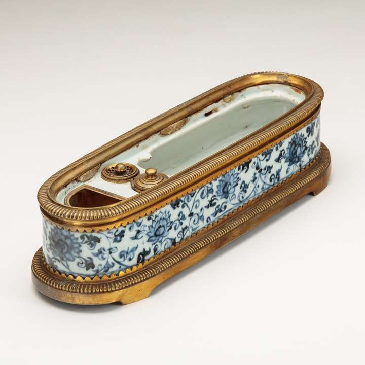 A Rare Blue-and-White Pen Box of Islamic Form
