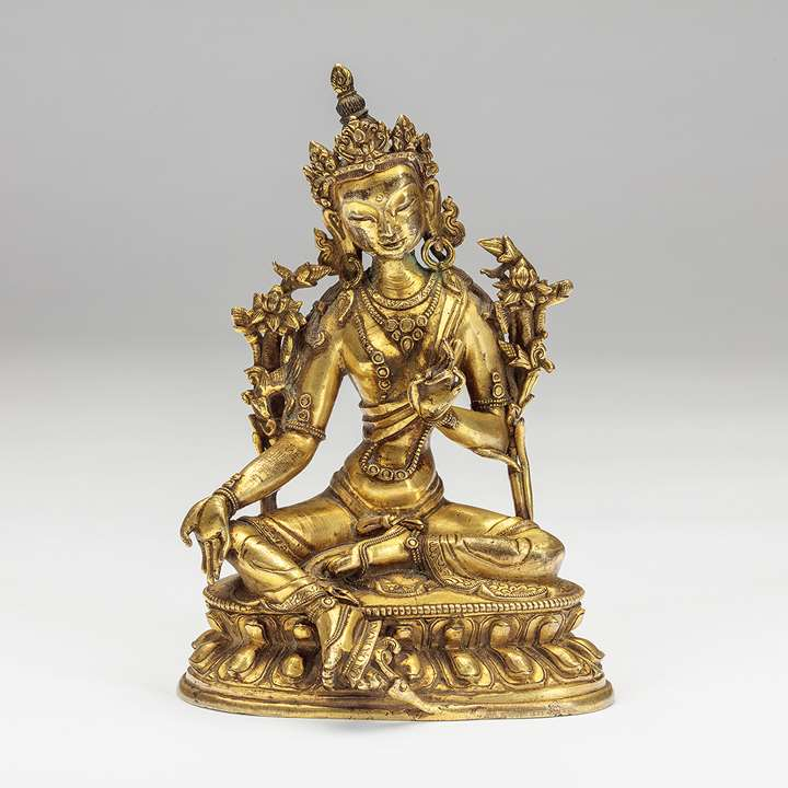 A Sino-Tibetan Gilt-Bronze Figure of Tara