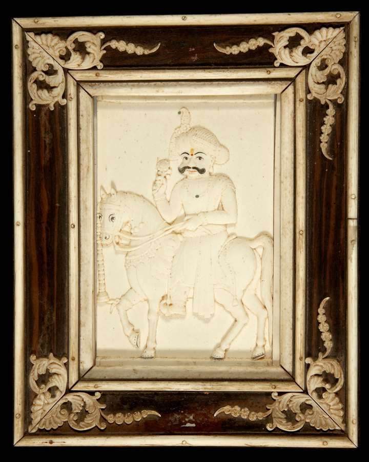 Carved Ivory Plaque of Mummadi Krishnaraja Wodeyar of Mysore