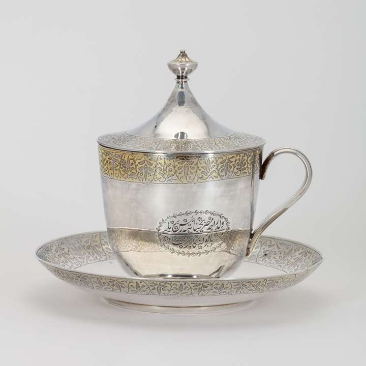 Commemorative Indian Silver Cup and Saucer