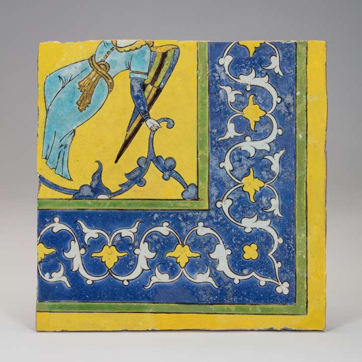 Cuerda Seca Tile with Angel