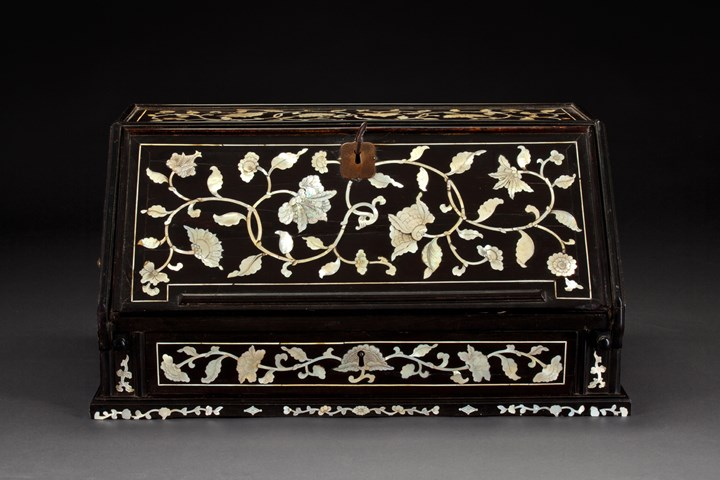 Ebony Writing Cabinet Inlaid with Engraved Mother-of-Pearl