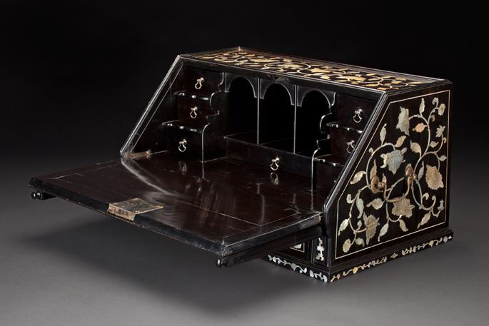 Ebony Writing Cabinet Inlaid with Engraved Mother-of-Pearl | MasterArt