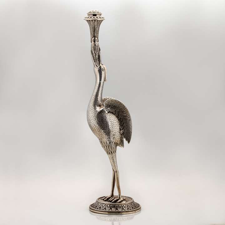 Egret or Heron-Shaped Silver Rosewater Sprinkler
