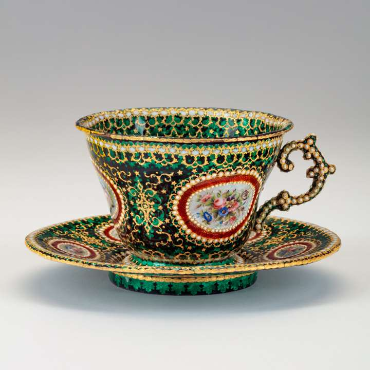 Enamelled Cup and Saucer