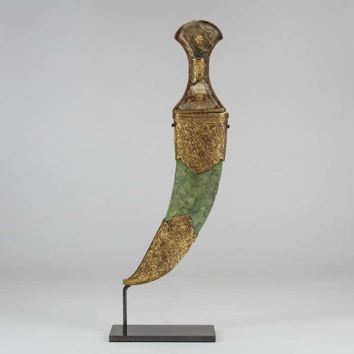 Gilt Copper Jambiya with Rock Crystal Handle