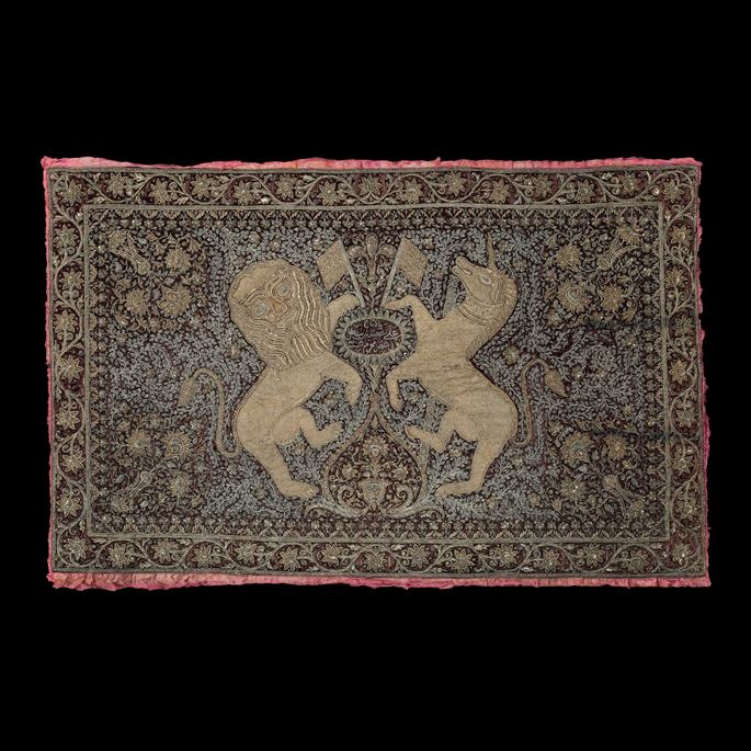 Indian Embroidered Textile Depicting the British Coat of Arms  | MasterArt