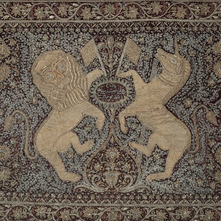 Indian Embroidered Textile Depicting the British Coat of Arms