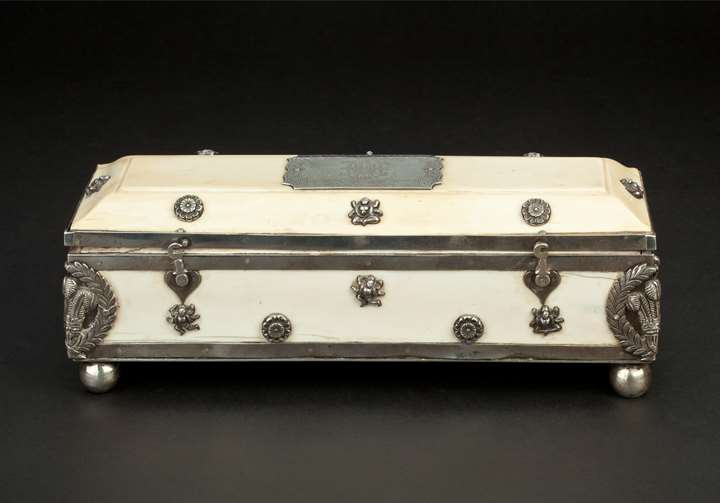 Ivory Box Engraved with Prince of Wales Feathers