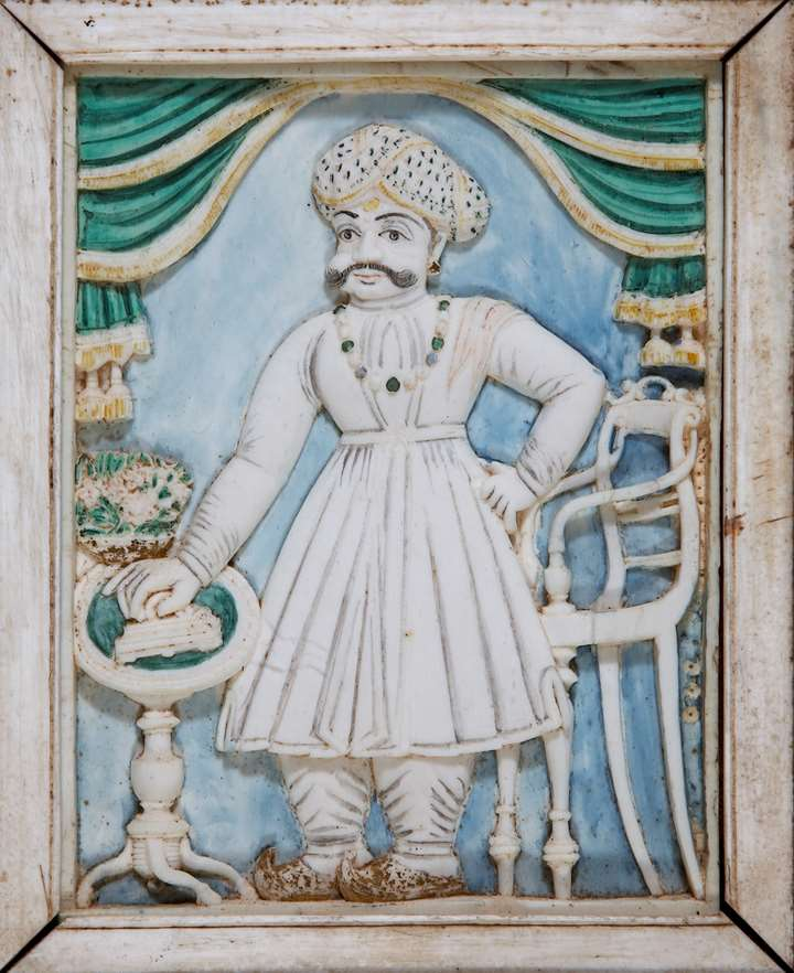 Ivory Plaque of Mummadi Krishnaraja Wodeyar of Mysore