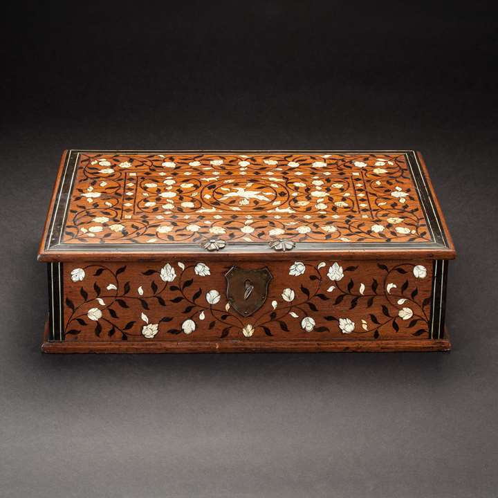 Ivory and Ebony Inlaid Document Box