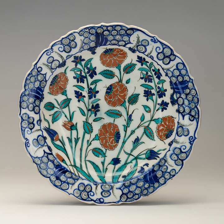 Iznik Dish Decorated with Roses and Hyacinths