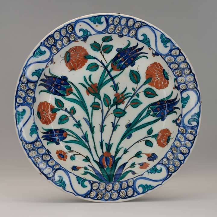 Iznik Dish Decorated with Tulips and Roses