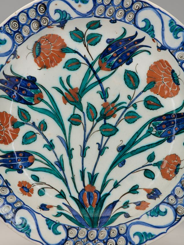 Iznik Dish Decorated with Tulips and Roses | MasterArt