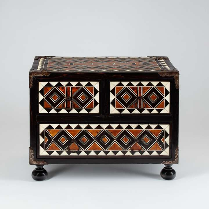 Mexican Table Cabinet with Geometric Decoration