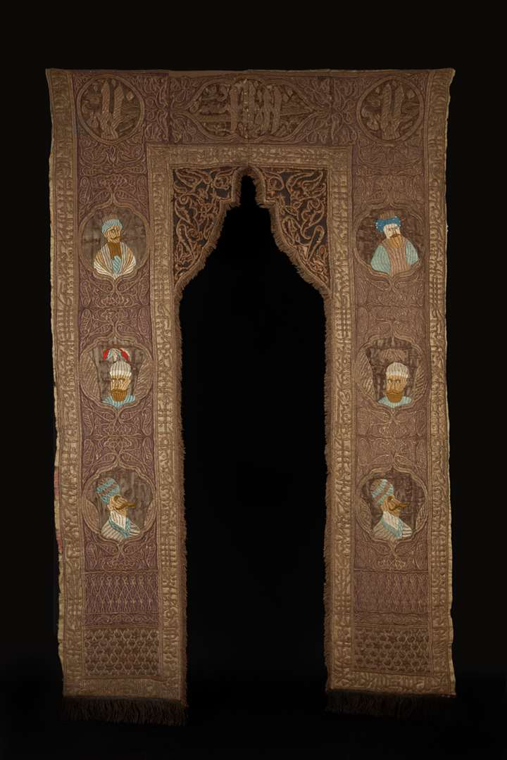 Ottoman Portiere Embroidered with Portrait Medallions