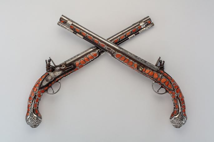 Pair of Coral-Decorated Pistols | MasterArt