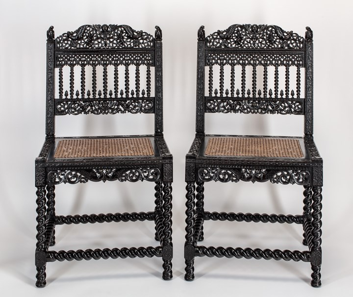 Pair of Ebony Coromandel Chairs