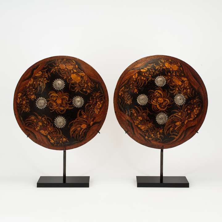 Pair of Lacquered Shields (Dhal)