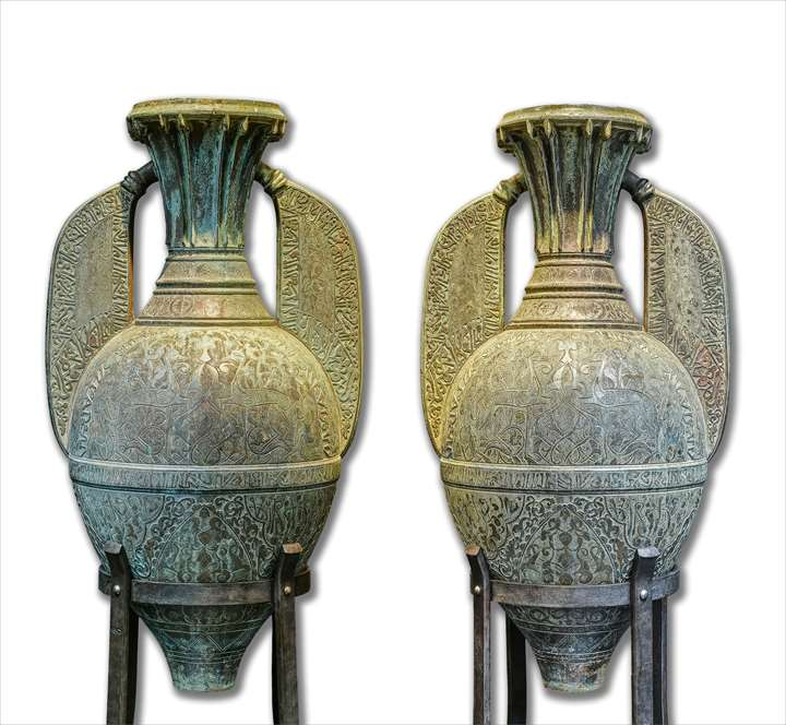 Pair of Monumental Cast Bronze Alhambra Vases