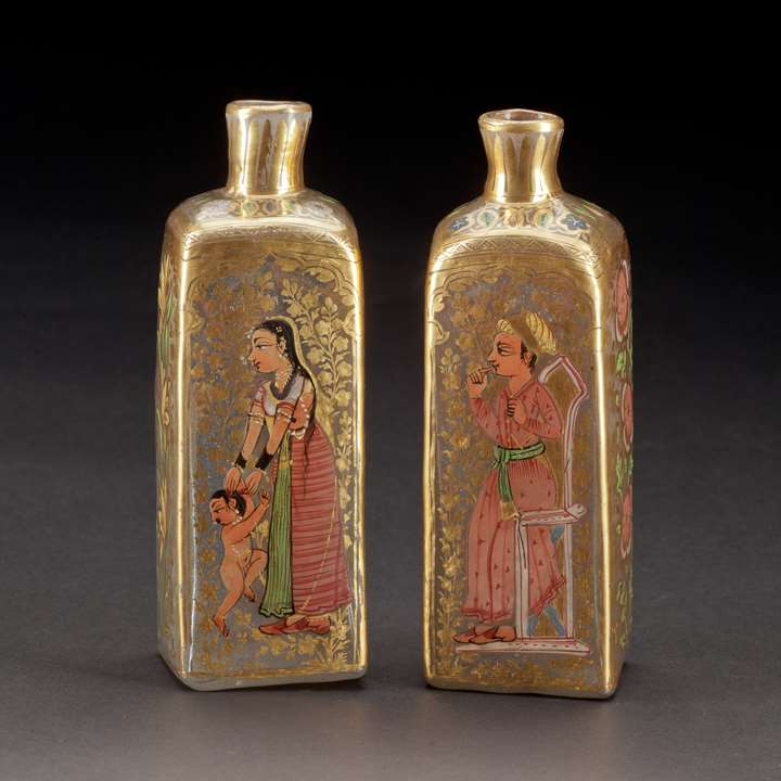 Pair of Mughal Gilt Glass Bottles