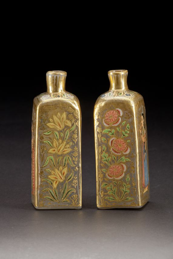 Pair of Mughal Gilt Glass Bottles | MasterArt