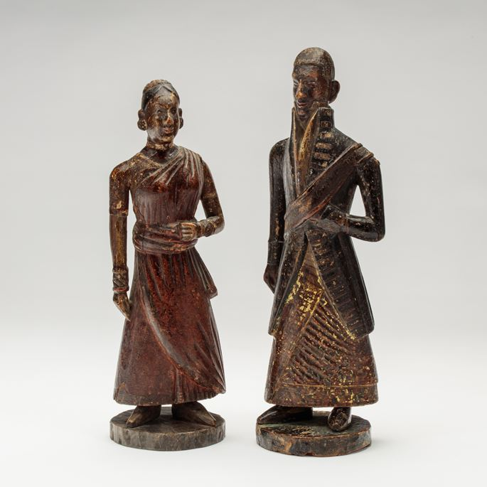 Pair of Sri Lankan Wooden Figures | MasterArt