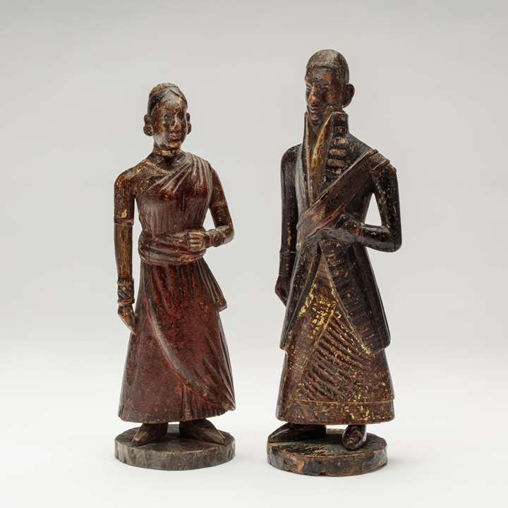 Pair of Sri Lankan Wooden Figures