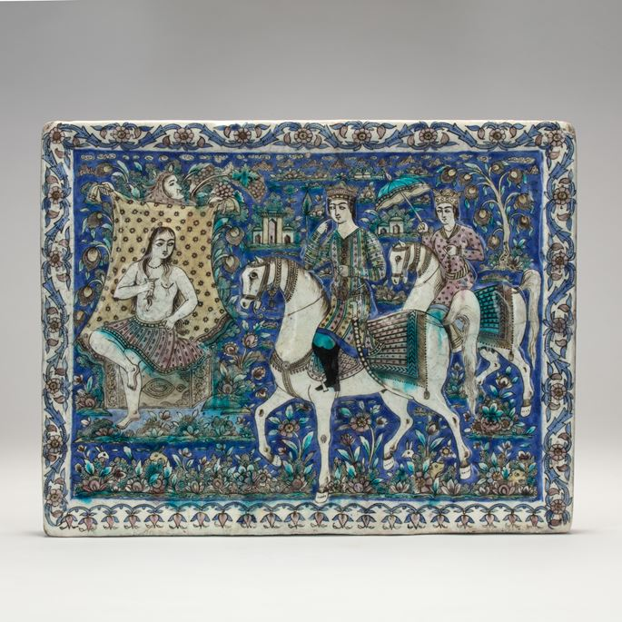 Qajar Tile Depicting Khosrow and Shirin | MasterArt